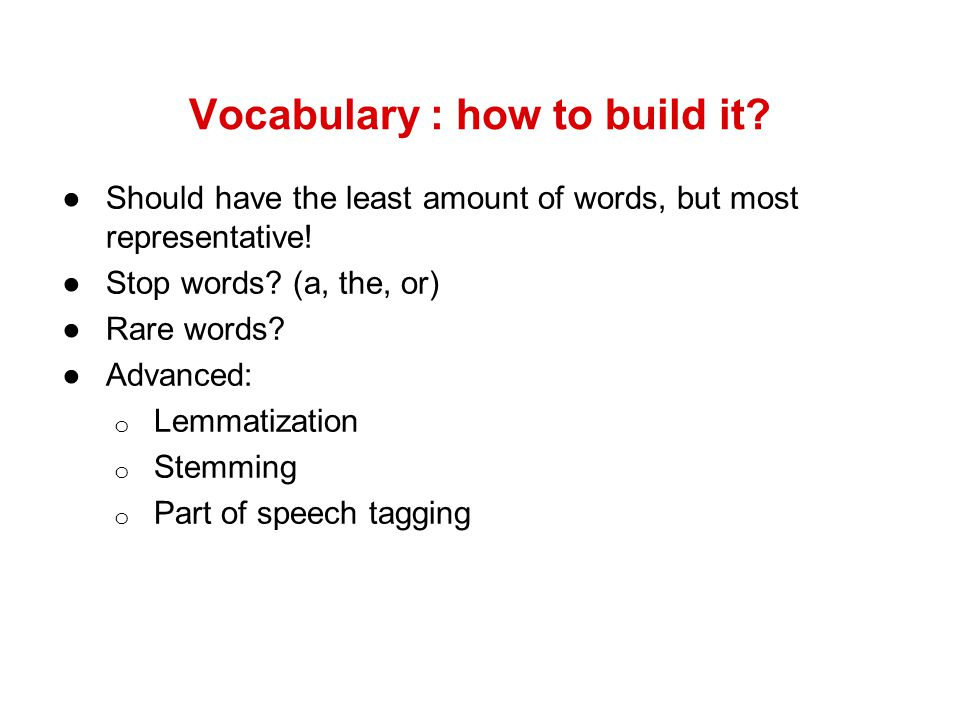 Vocabulary : how to build it