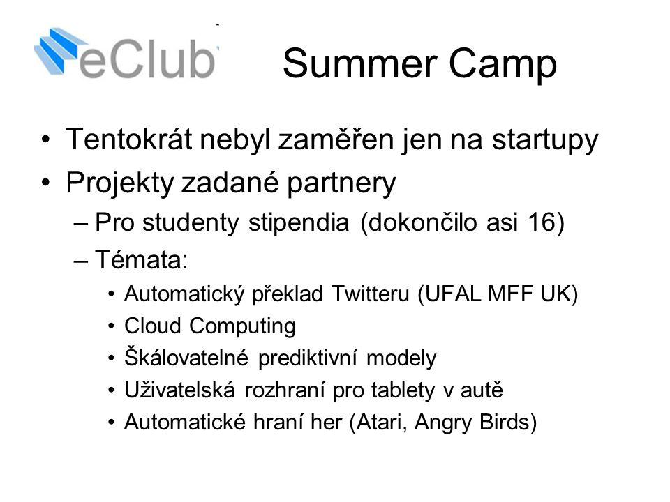 Summer Camp Tentokrát nebyl zaměřen jen na startupy