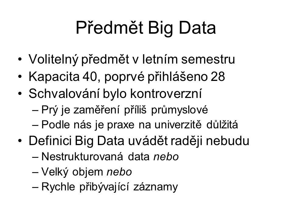 Předmět Big Data Volitelný předmět v letním semestru