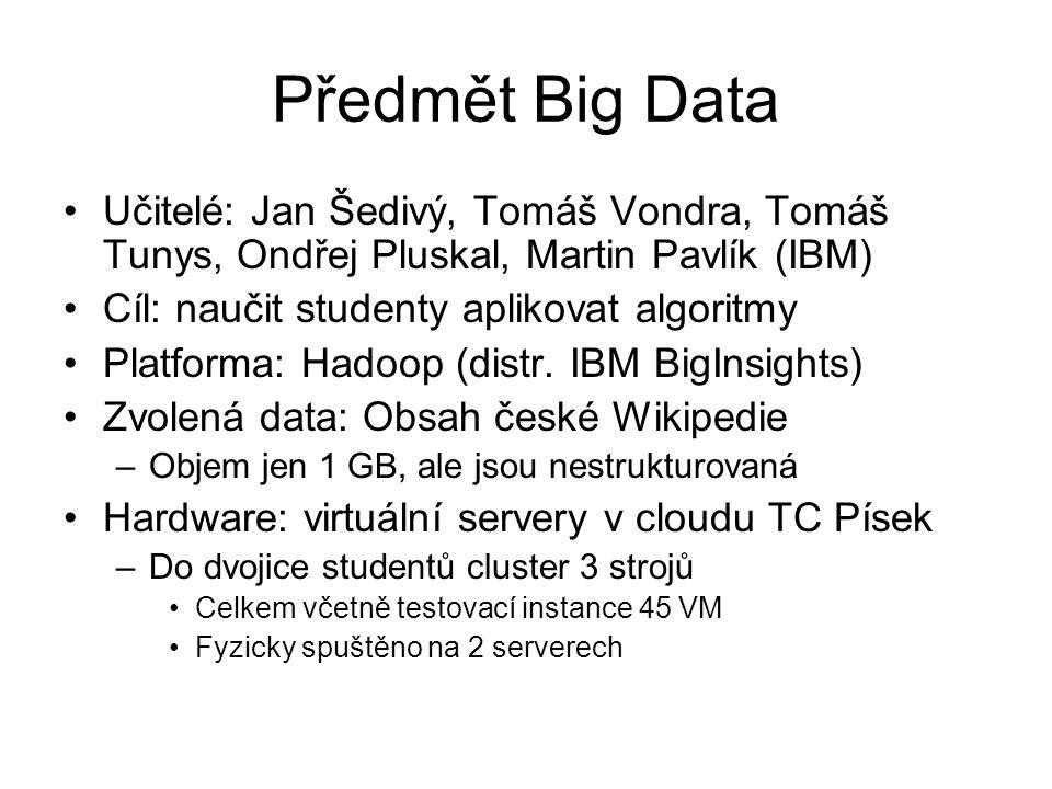 Předmět Big Data Učitelé: Jan Šedivý, Tomáš Vondra, Tomáš Tunys, Ondřej Pluskal, Martin Pavlík (IBM)