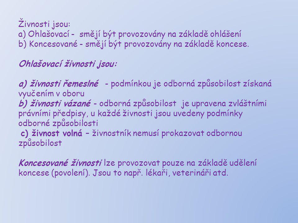 Živnosti jsou: a) Ohlašovací - smějí být provozovány na základě ohlášení. b) Koncesované - smějí být provozovány na základě koncese.
