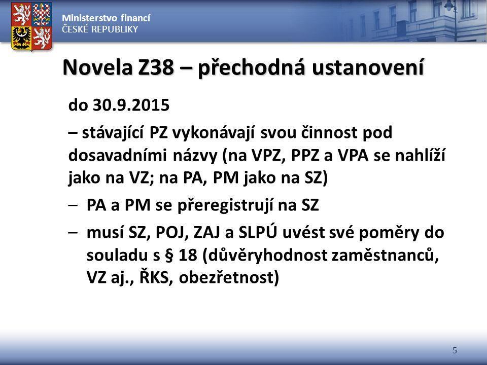 Novela Z38 – přechodná ustanovení