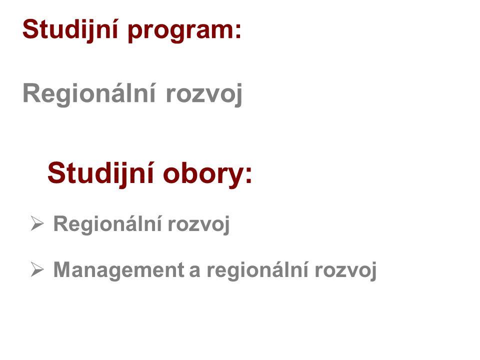 Studijní program: Regionální rozvoj