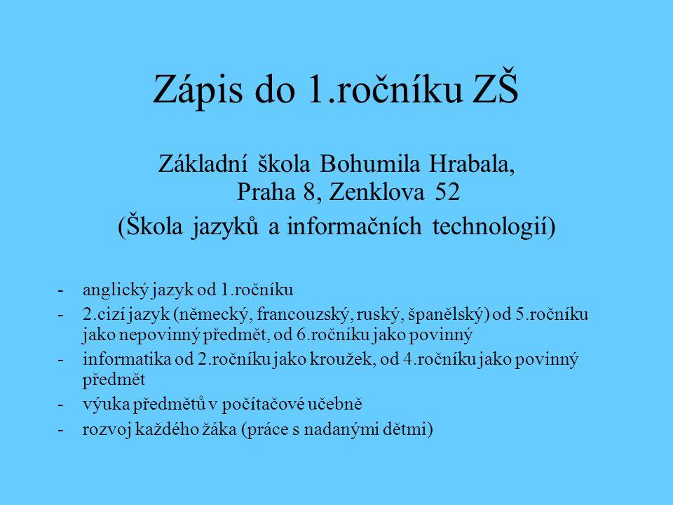 Zápis do 1.ročníku ZŠ Základní škola Bohumila Hrabala, Praha 8, Zenklova 52. (Škola jazyků a informačních technologií)