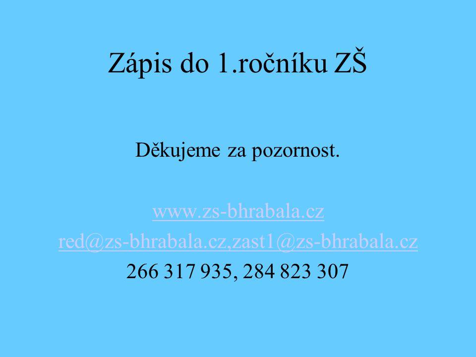Zápis do 1.ročníku ZŠ Děkujeme za pozornost. www.zs-bhrabala.cz