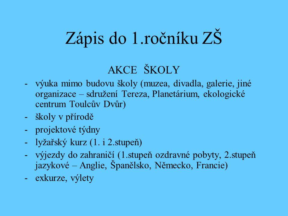 Zápis do 1.ročníku ZŠ AKCE ŠKOLY