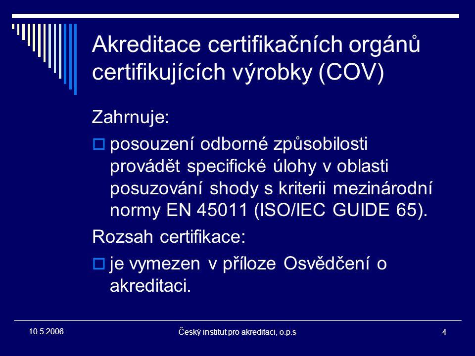 Akreditace certifikačních orgánů certifikujících výrobky (COV)