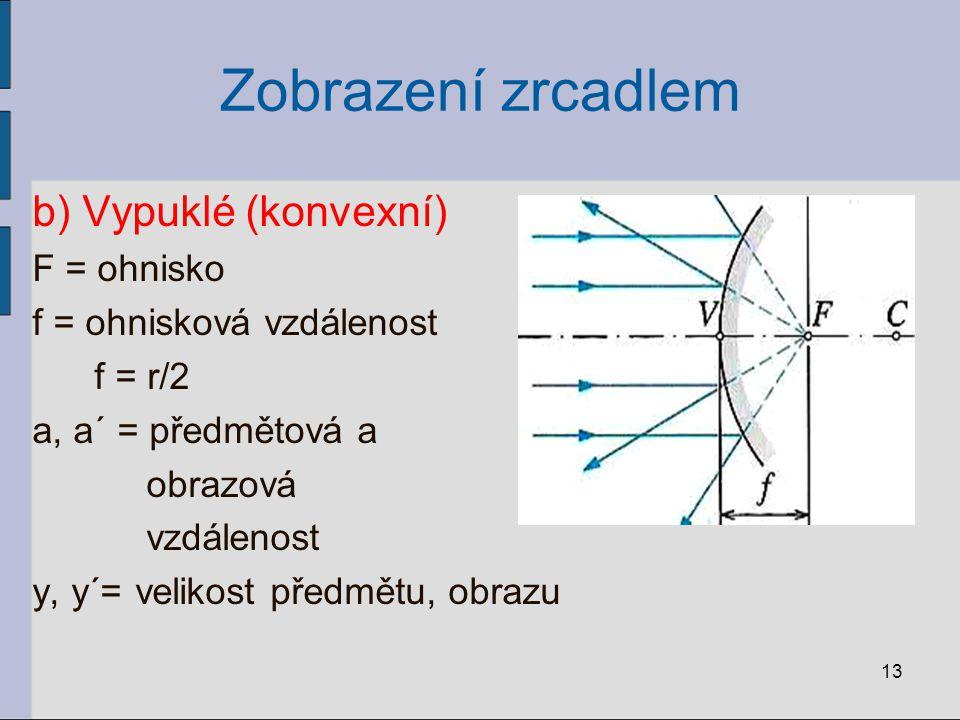 Zobrazení zrcadlem b) Vypuklé (konvexní) F = ohnisko