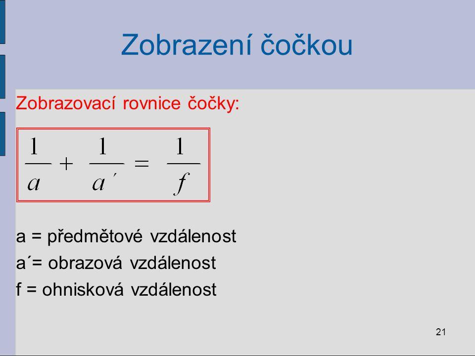 Zobrazení čočkou Zobrazovací rovnice čočky: a = předmětové vzdálenost a´= obrazová vzdálenost f = ohnisková vzdálenost