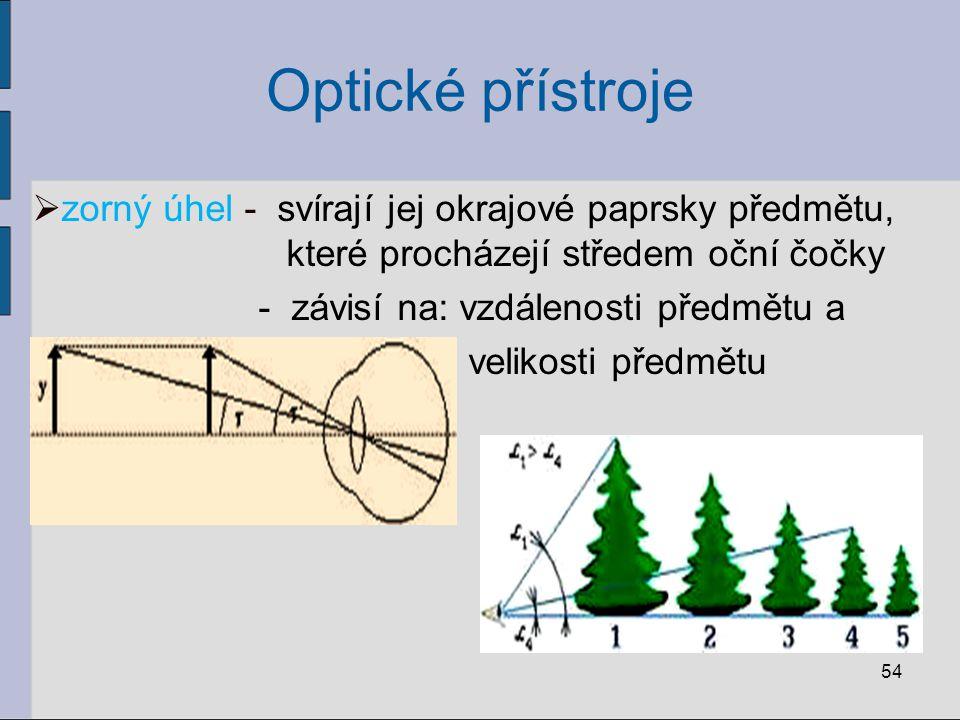 Optické přístroje zorný úhel - svírají jej okrajové paprsky předmětu, které procházejí středem oční čočky.