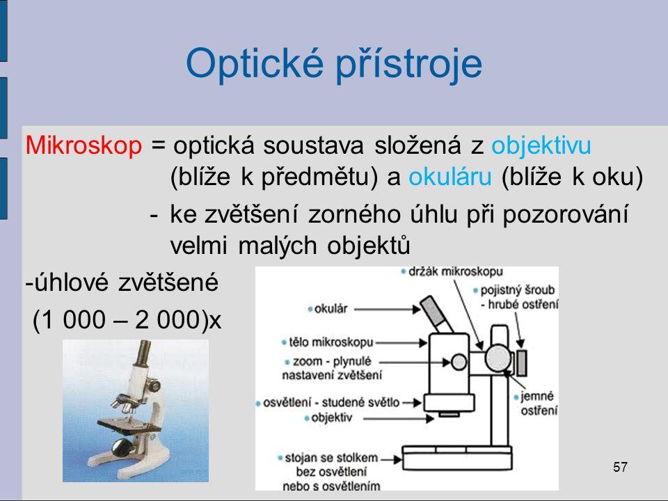 Optické přístroje Mikroskop = optická soustava složená z objektivu (blíže k předmětu) a okuláru (blíže k oku)
