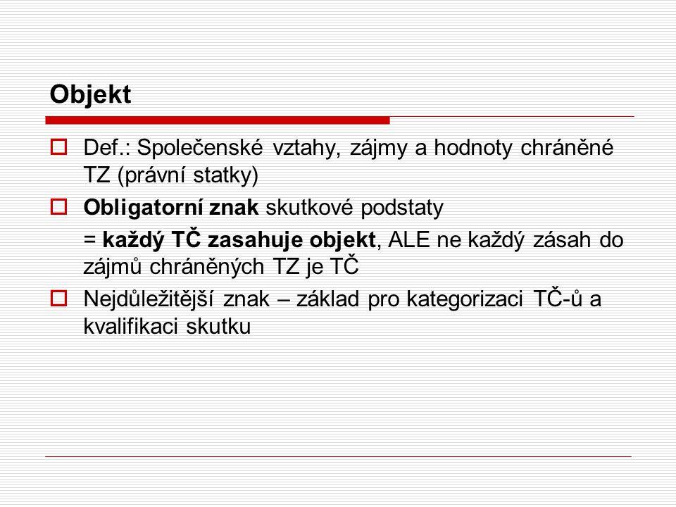 Objekt Def.: Společenské vztahy, zájmy a hodnoty chráněné TZ (právní statky) Obligatorní znak skutkové podstaty.