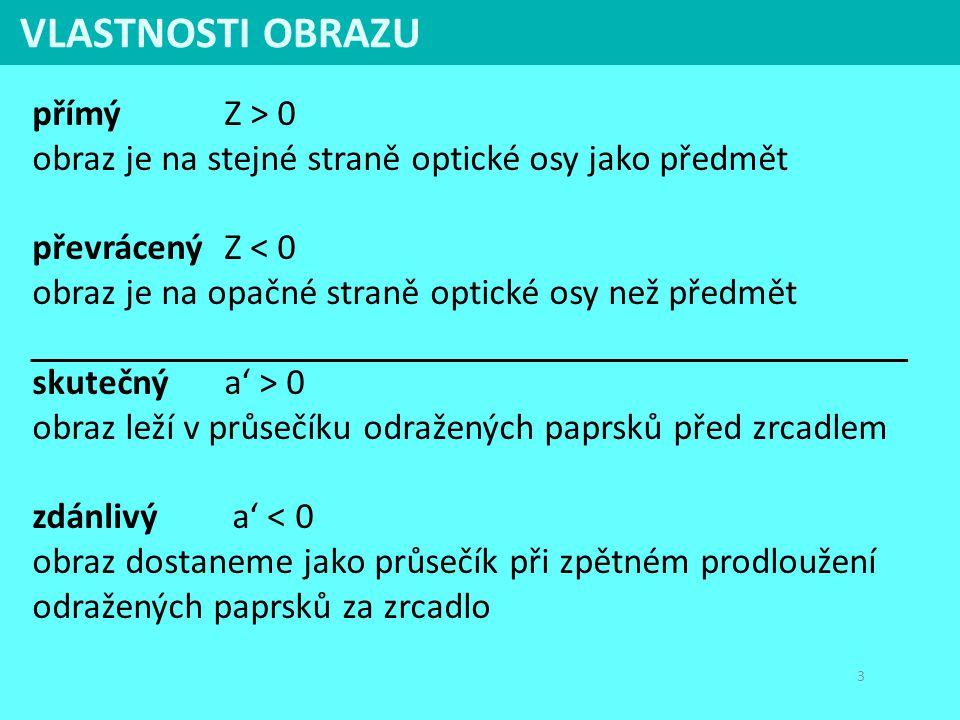 VLASTNOSTI OBRAZU přímý Z > 0 obraz je na stejné straně optické osy jako předmět.