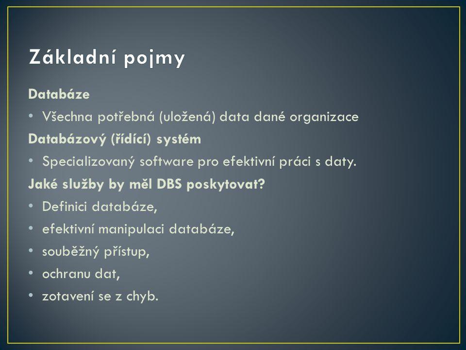 Základní pojmy Databáze