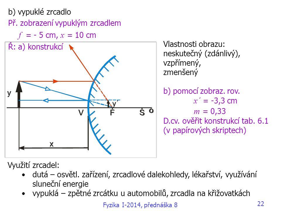 Př. zobrazení vypuklým zrcadlem f = - 5 cm, x = 10 cm Ř: a) konstrukcí
