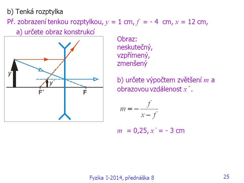m = 0,25, x´ = - 3 cm b) Tenká rozptylka
