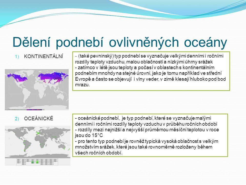Dělení podnebí ovlivněných oceány