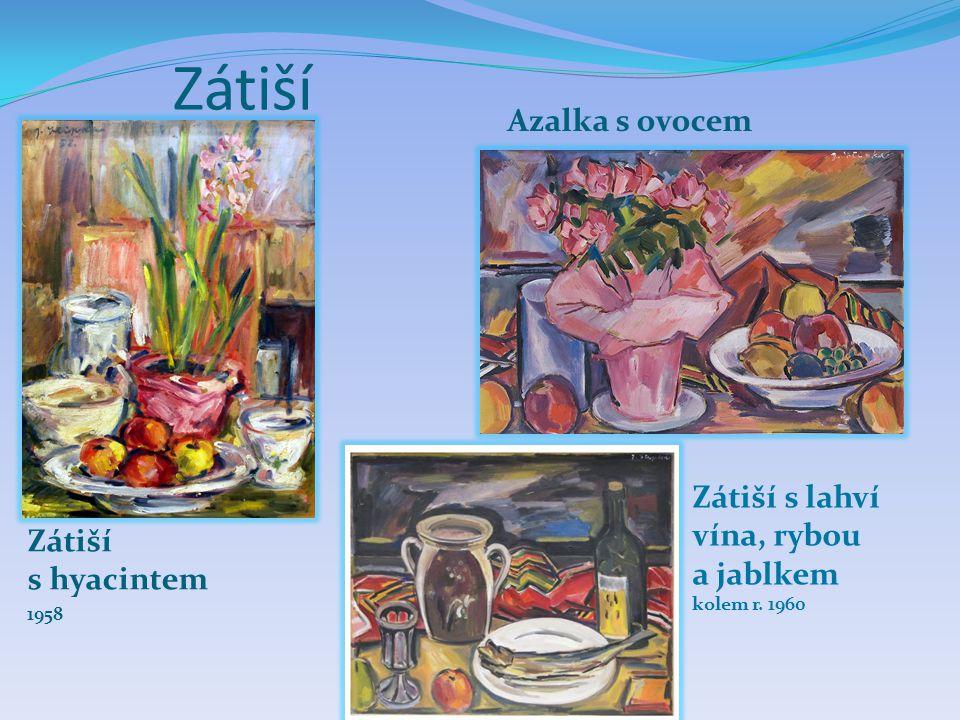 Zátiší Azalka s ovocem Zátiší s lahví vína, rybou a jablkem