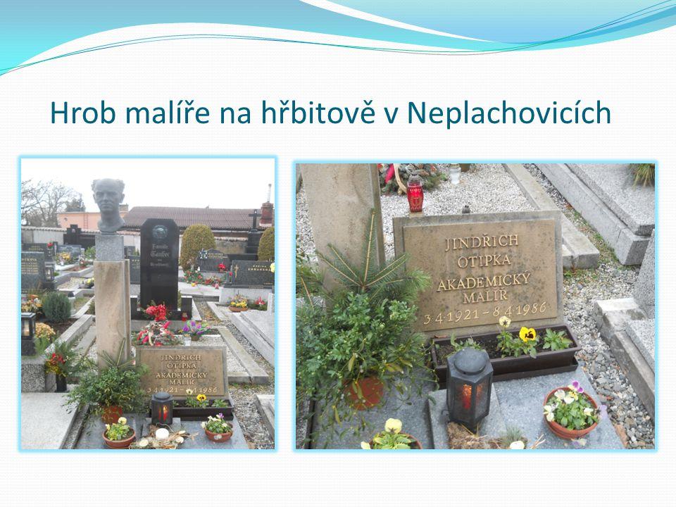 Hrob malíře na hřbitově v Neplachovicích