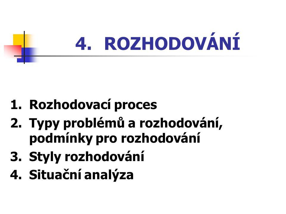 4. ROZHODOVÁNÍ 1. Rozhodovací proces