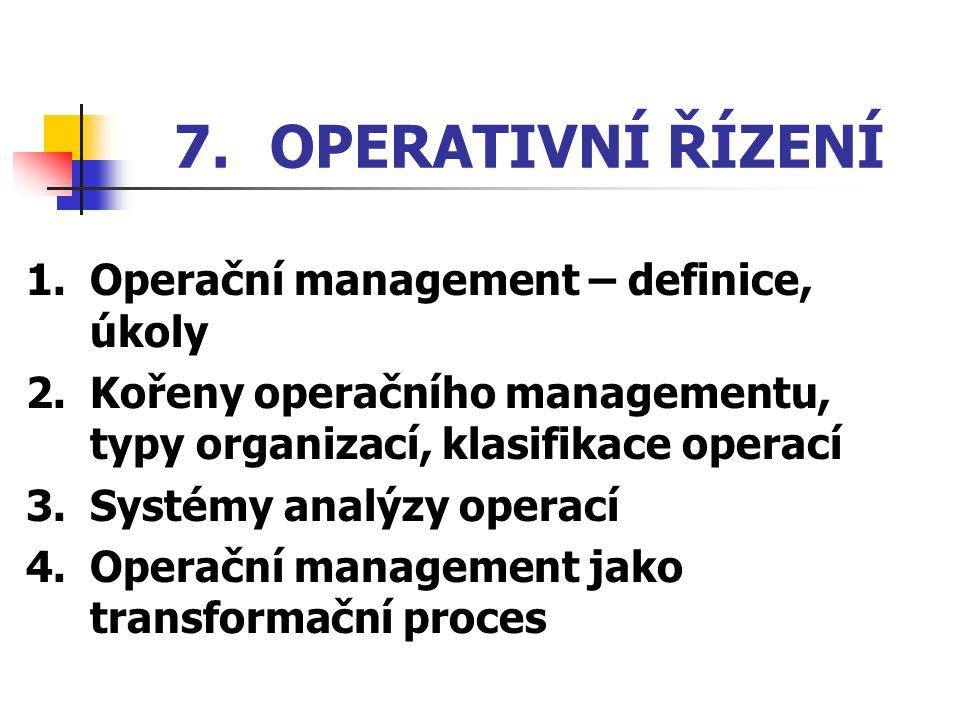 7. OPERATIVNÍ ŘÍZENÍ 1. Operační management – definice, úkoly