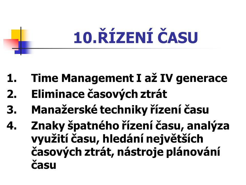 10. ŘÍZENÍ ČASU 1. Time Management I až IV generace