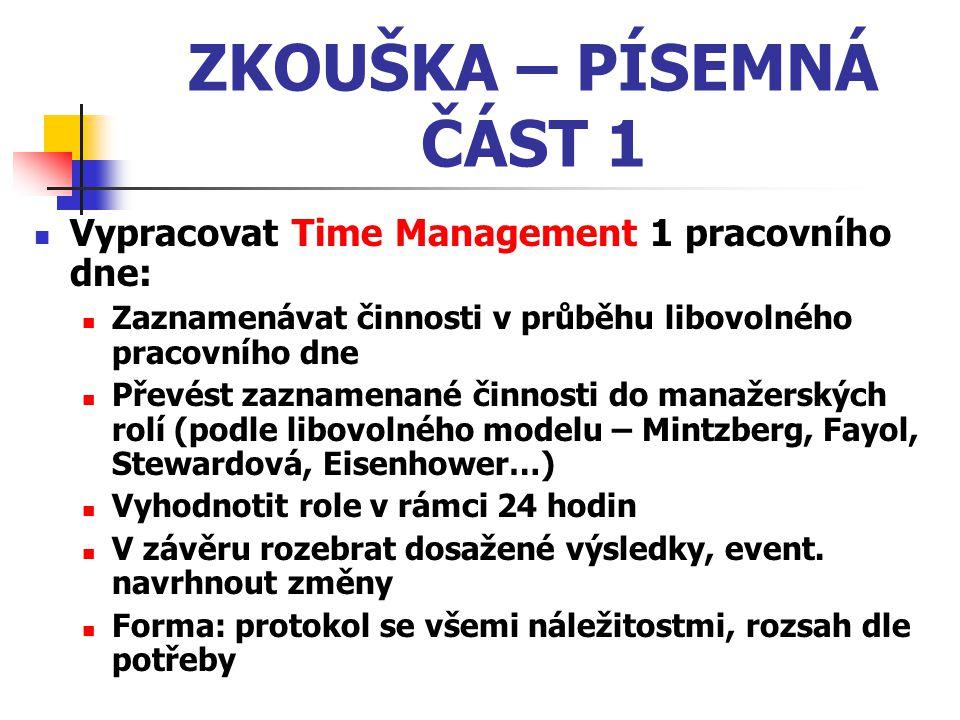 ZKOUŠKA – PÍSEMNÁ ČÁST 1 Vypracovat Time Management 1 pracovního dne: