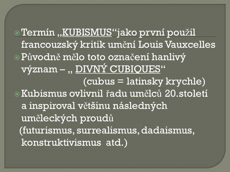 """Termín """"KUBISMUS jako první použil francouzský kritik umění Louis Vauxcelles"""