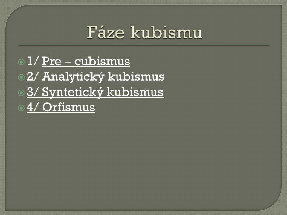 Fáze kubismu 1/ Pre – cubismus 2/ Analytický kubismus