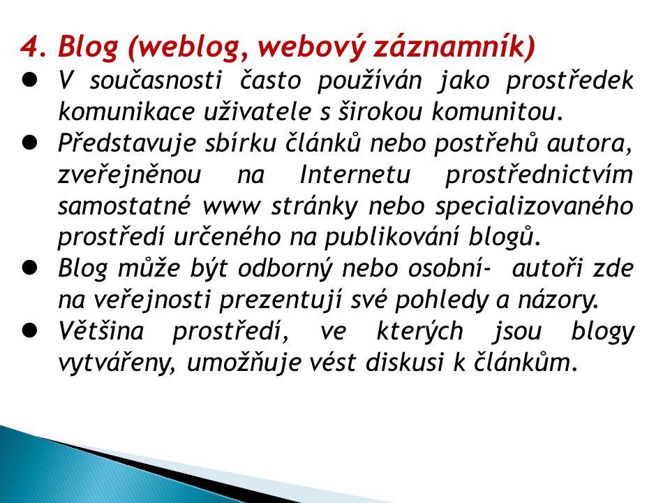 Blog (weblog, webový záznamník)