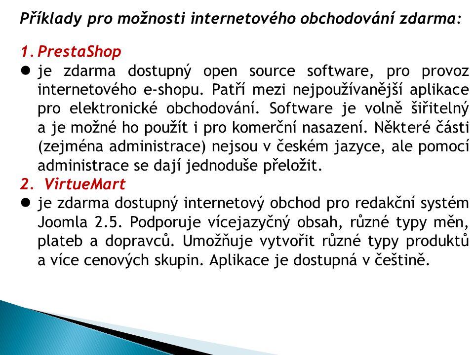 Příklady pro možnosti internetového obchodování zdarma: