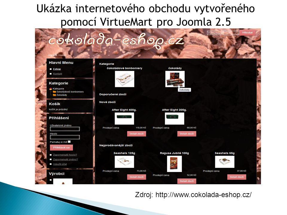 Ukázka internetového obchodu vytvořeného pomocí VirtueMart pro Joomla 2.5