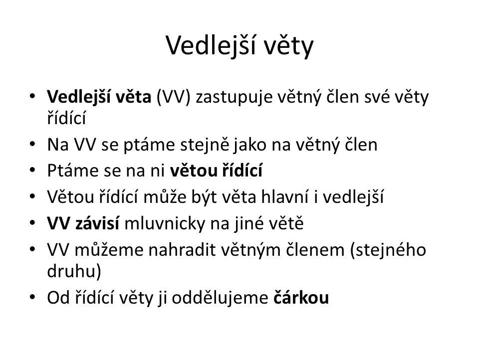 Vedlejší věty Vedlejší věta (VV) zastupuje větný člen své věty řídící