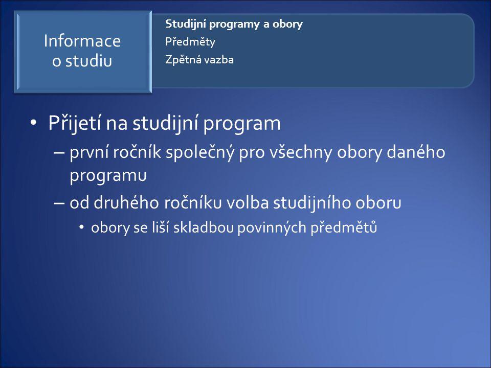 Přijetí na studijní program