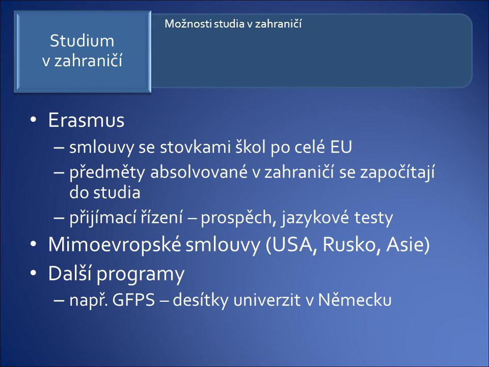 Mimoevropské smlouvy (USA, Rusko, Asie) Další programy