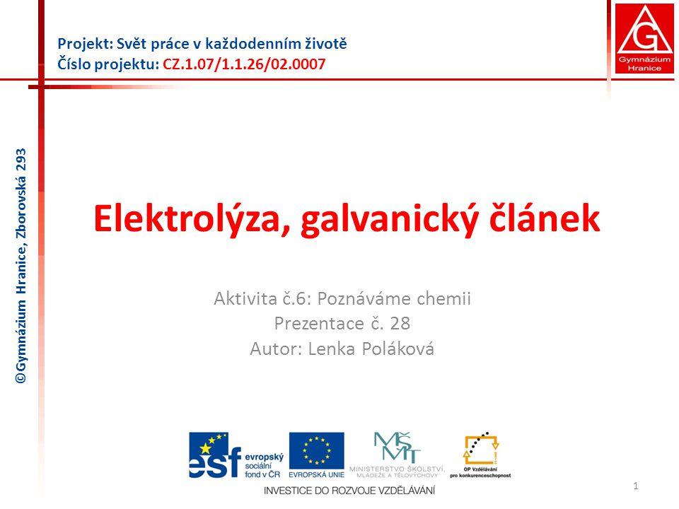 Elektrolýza, galvanický článek