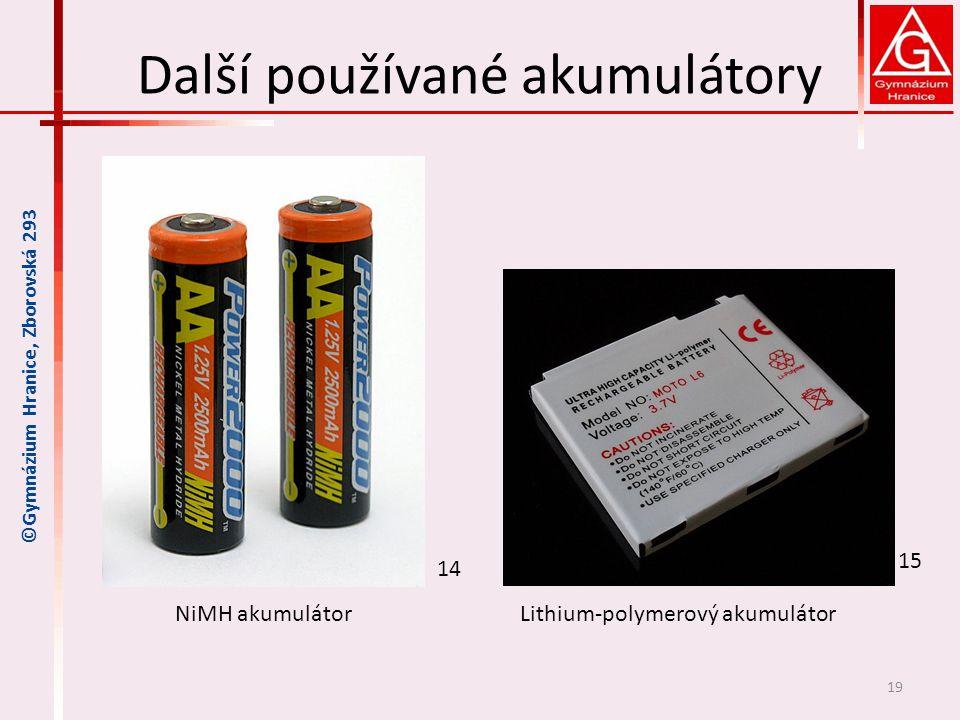 Další používané akumulátory