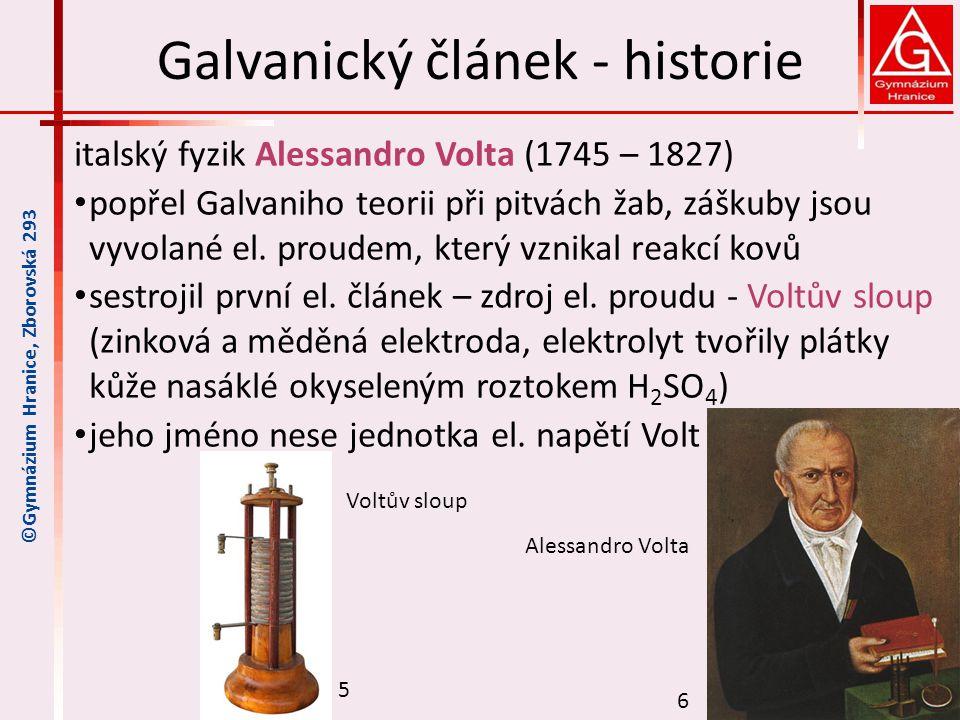 Galvanický článek - historie