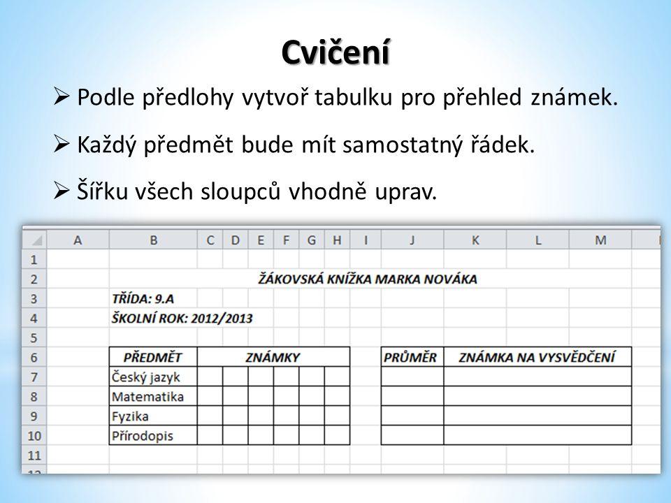 Cvičení Podle předlohy vytvoř tabulku pro přehled známek.