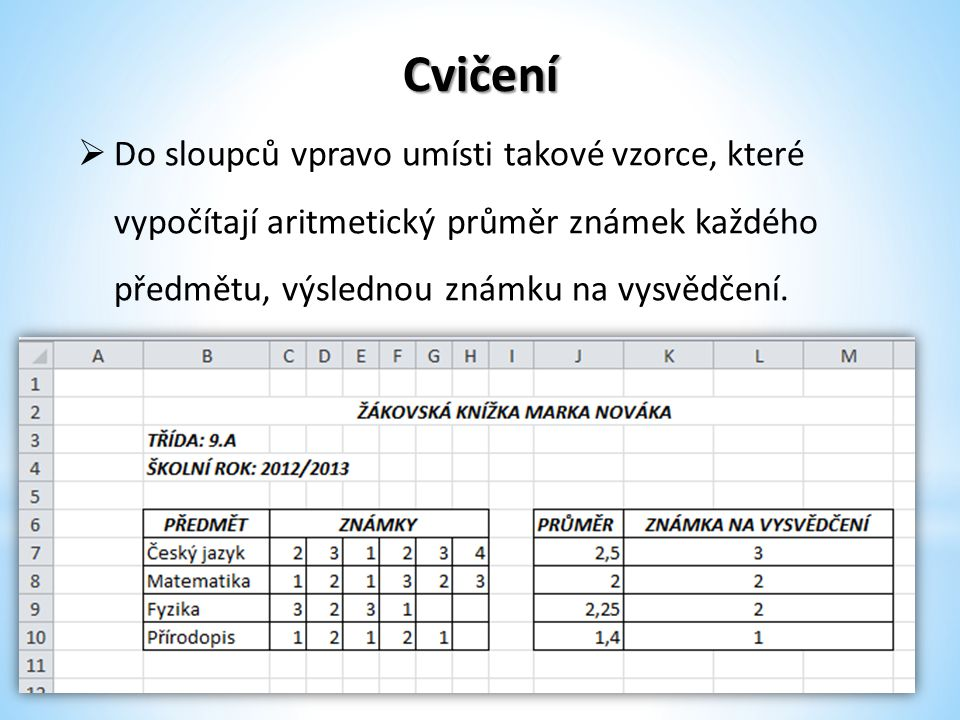 Cvičení Do sloupců vpravo umísti takové vzorce, které vypočítají aritmetický průměr známek každého předmětu, výslednou známku na vysvědčení.
