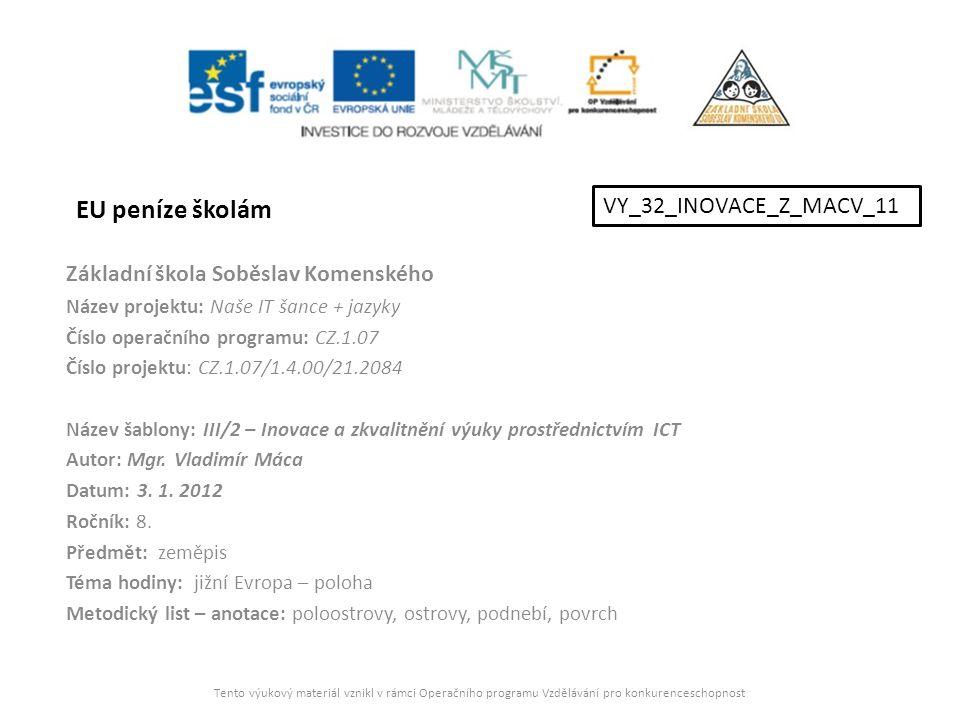 EU peníze školám VY_32_INOVACE_Z_MACV_11
