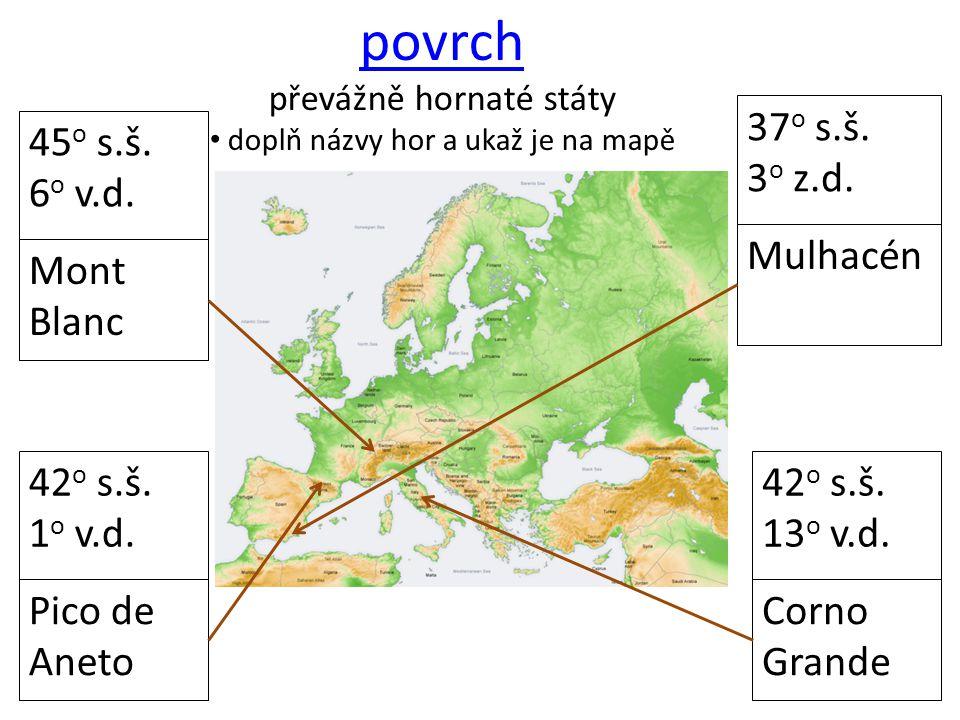 povrch 37o s.š. 3o z.d. 45o s.š. 6o v.d. Mulhacén Mont Blanc 42o s.š.