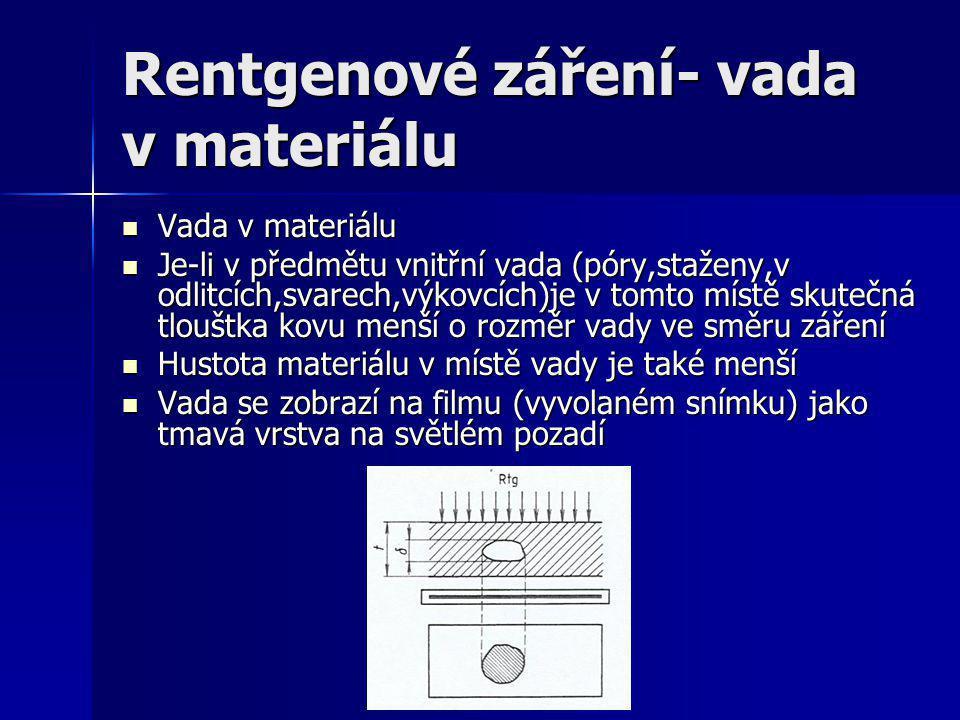 Rentgenové záření- vada v materiálu