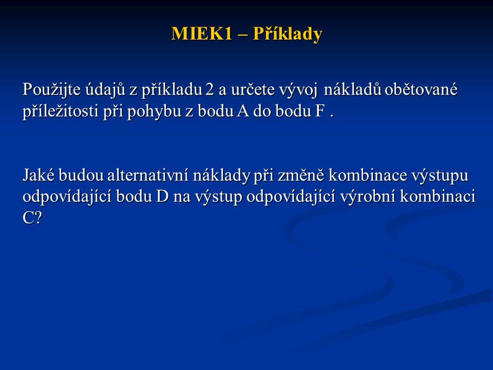 MIEK1 – Příklady Použijte údajů z příkladu 2 a určete vývoj nákladů obětované příležitosti při pohybu z bodu A do bodu F .