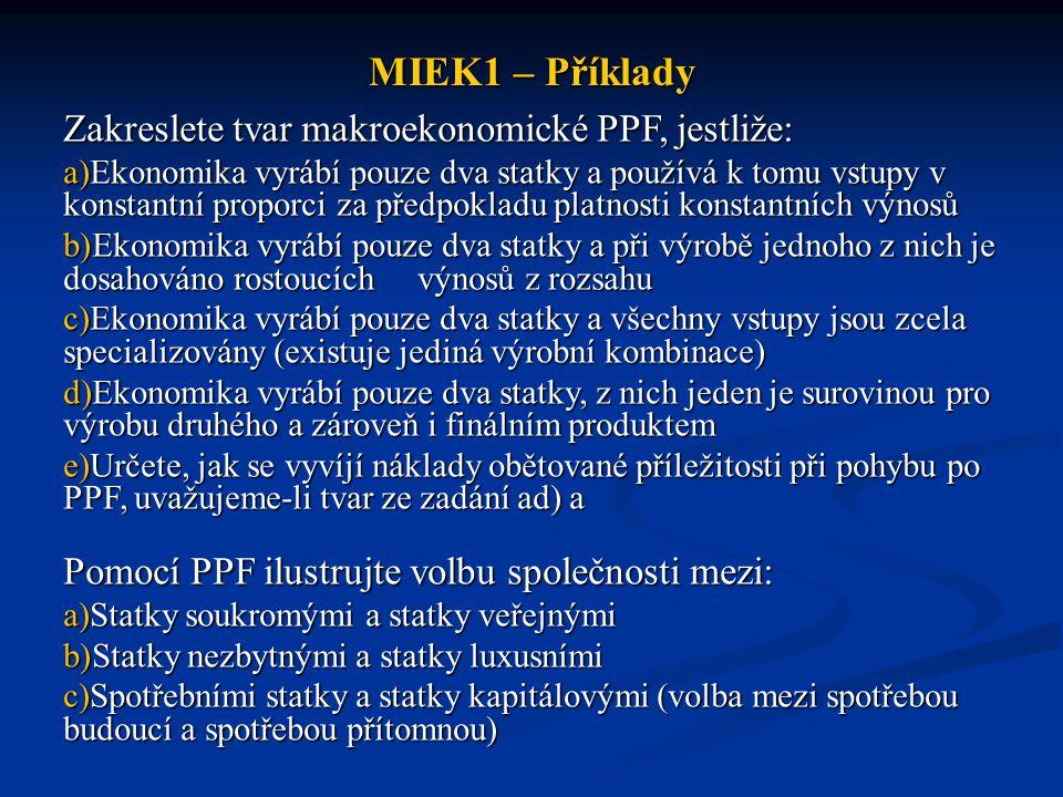 MIEK1 – Příklady Zakreslete tvar makroekonomické PPF, jestliže: