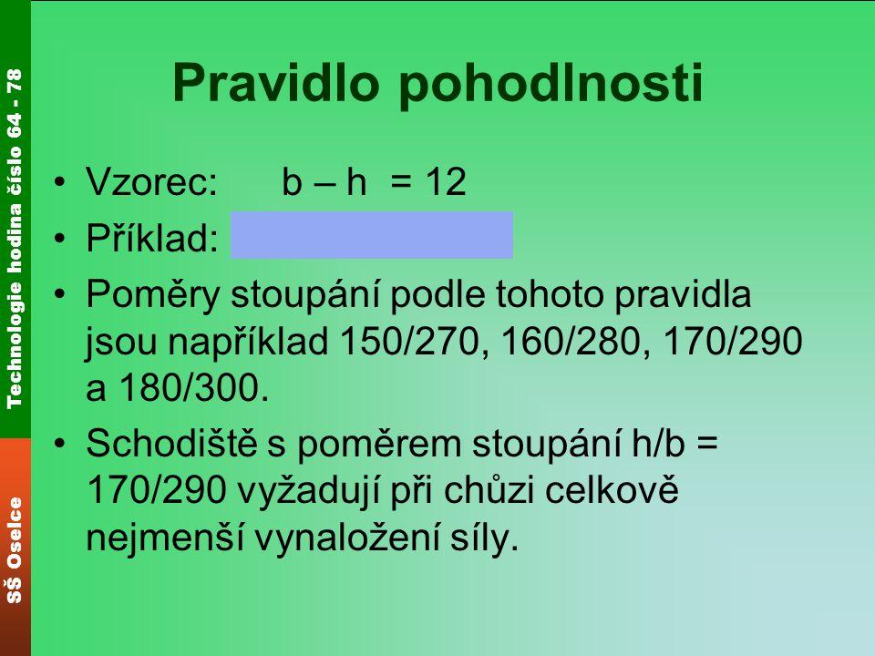 Pravidlo pohodlnosti Vzorec: b – h = 12 Příklad: 290 – 170 = 12