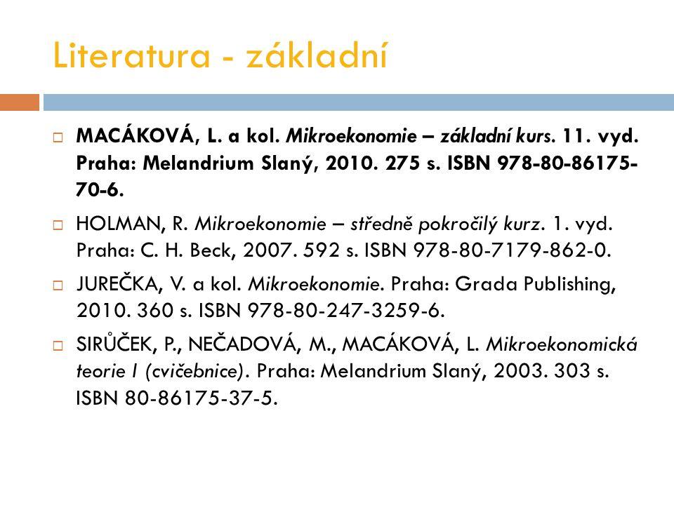 Literatura - základní MACÁKOVÁ, L. a kol. Mikroekonomie – základní kurs. 11. vyd. Praha: Melandrium Slaný, 2010. 275 s. ISBN 978-80-86175- 70-6.