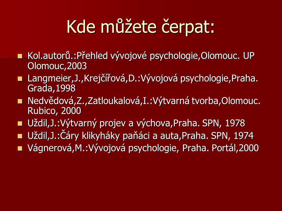 Kde můžete čerpat: Kol.autorů.:Přehled vývojové psychologie,Olomouc. UP Olomouc,2003.