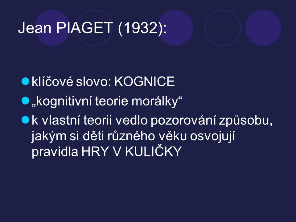 """Jean PIAGET (1932): klíčové slovo: KOGNICE """"kognitivní teorie morálky"""