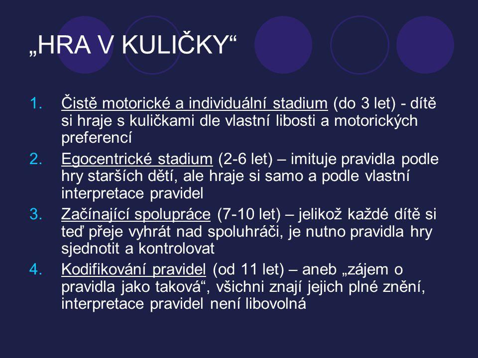 """""""HRA V KULIČKY Čistě motorické a individuální stadium (do 3 let) - dítě si hraje s kuličkami dle vlastní libosti a motorických preferencí."""